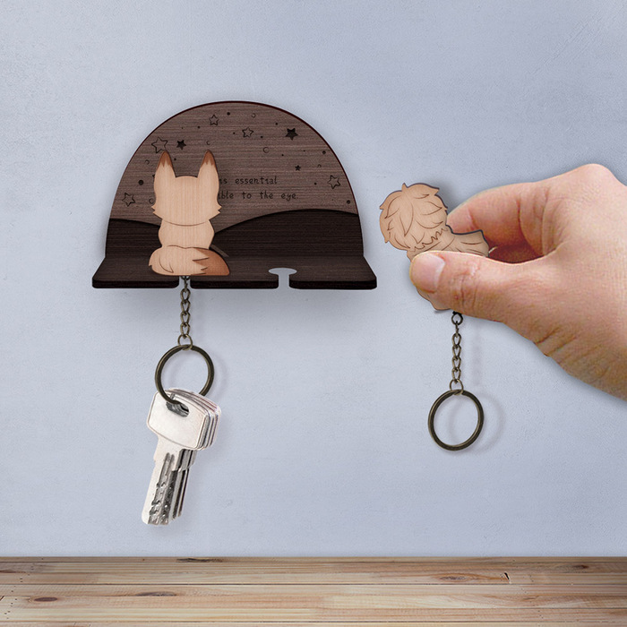 小王子與狐狸-鑰匙圈背掛架組