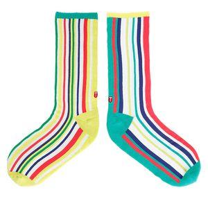 TwinSocks|不對稱板襪(彩色直紋)