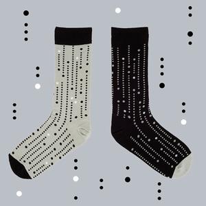 TwinSocks|中筒襪 - 點點(黑白色款)