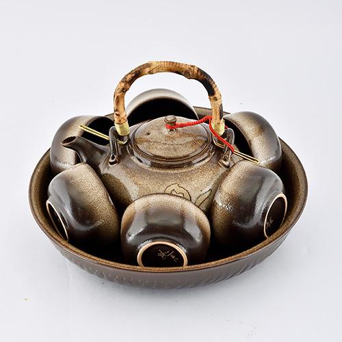 美濃窯|六色/鐵紅/古色茶具組