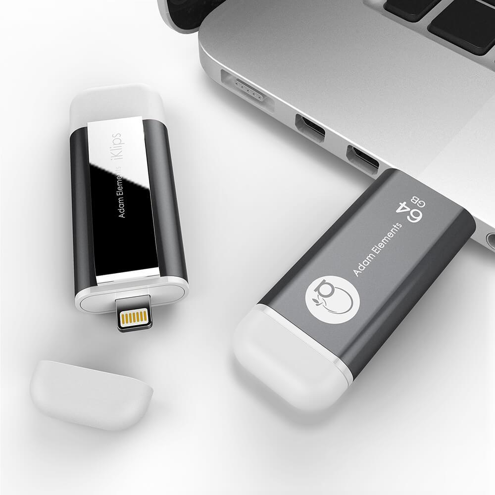 ADAM iKlips 蘋果iOS USB3.1極速雙向隨身碟 64GB 灰