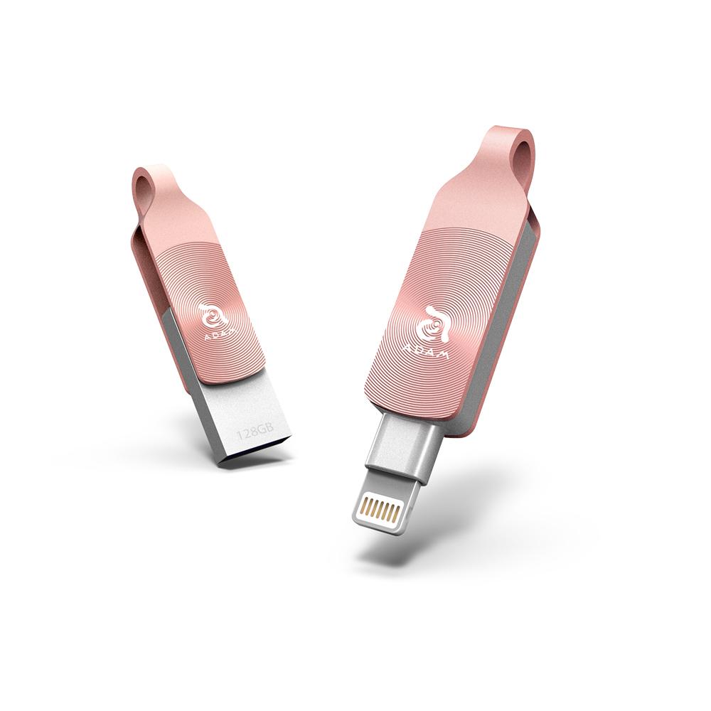 ADAM|iKlips DUO+ USB3.1 iOS極速雙向隨身碟 128GB 玫瑰金
