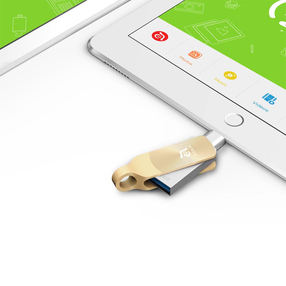 ADAM iKlips DUO+ USB3.1 iOS極速雙向隨身碟 64GB 金