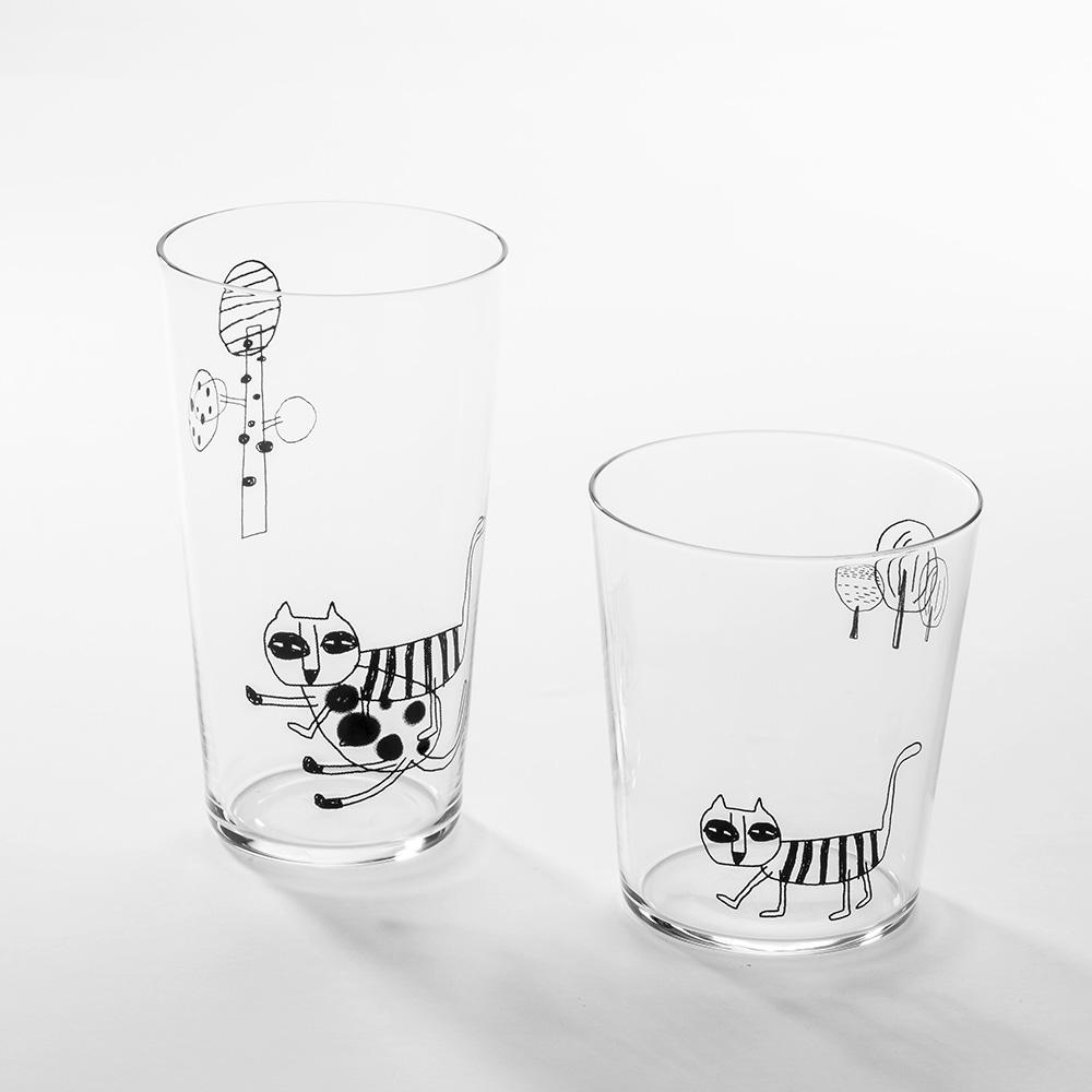北歐櫥窗 cindymode|朵拉貓玻璃杯(二入組)