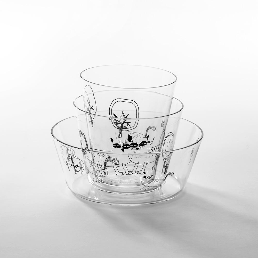 北歐櫥窗 cindymode|瞇瞇眼玻璃杯碗(三入組)