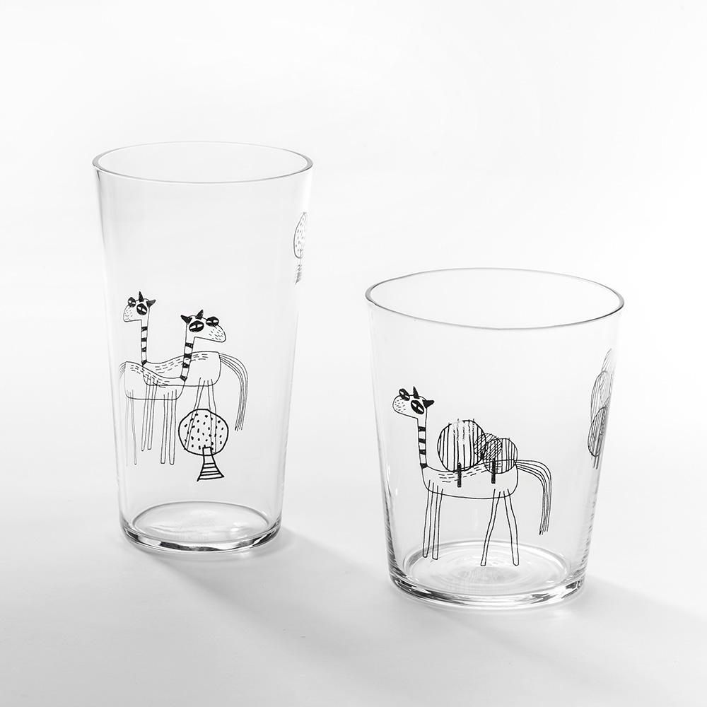 北歐櫥窗 cindymode|長頸鹿玻璃杯(二入組)
