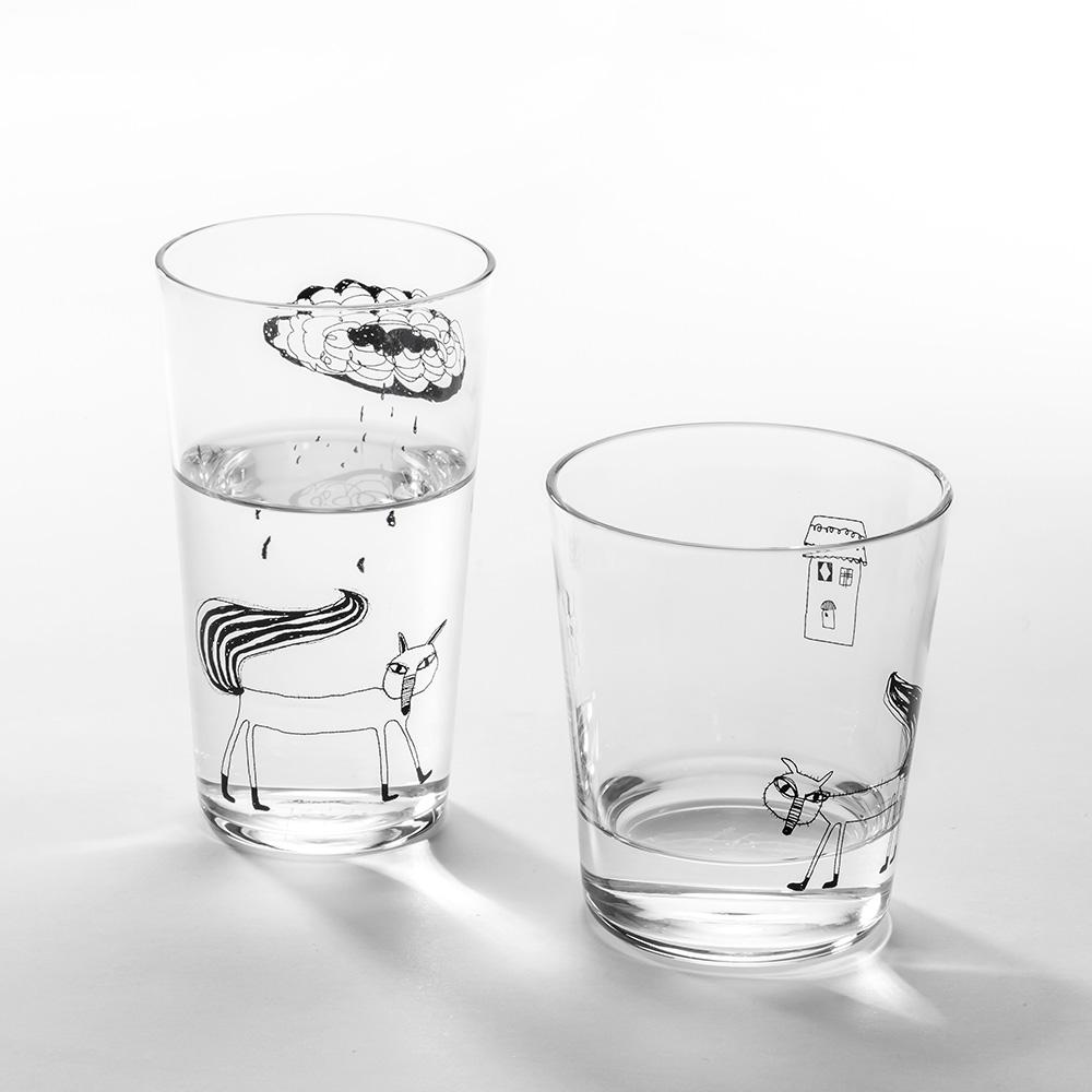 北歐櫥窗 cindymode|下雨了玻璃杯(二入組)