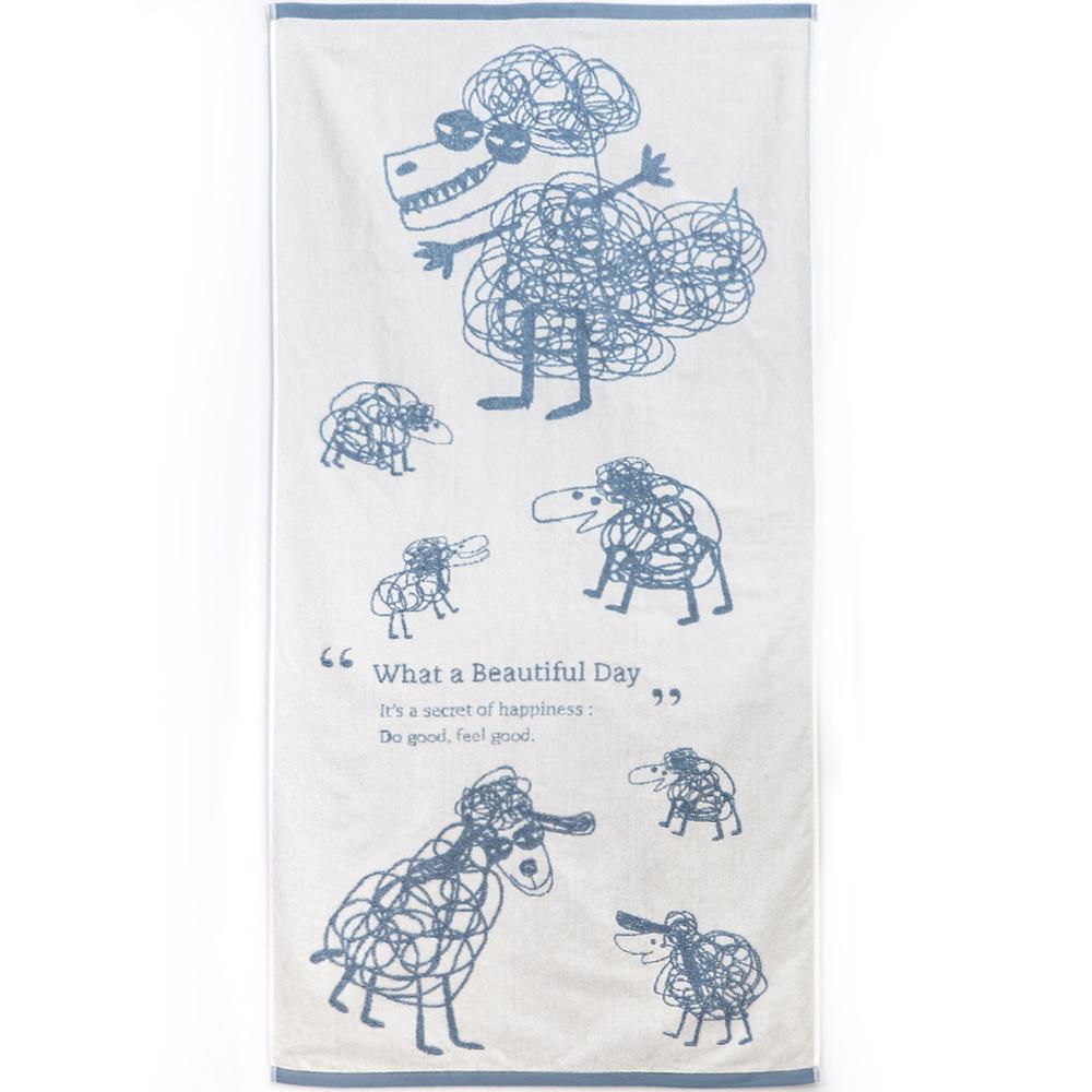 北歐櫥窗 cindymode|觸碰的療癒 藍色純棉巾(羊群與狼浴巾)