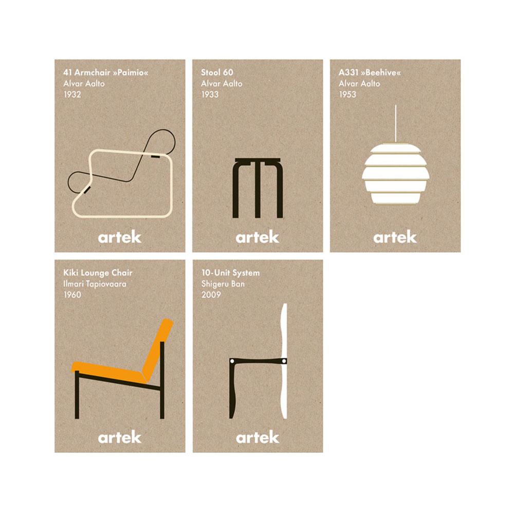 北歐櫥窗 Artek|Icon Cards 經典設計卡片組(五張入)
