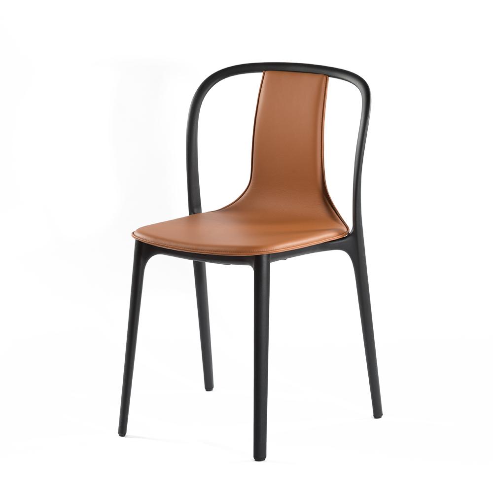 北歐櫥窗 Vitra Belleville Side Chair 美麗城單椅(棕色皮革)