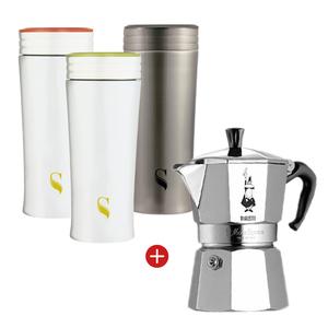 BIALETTI|經典摩卡壺3杯份+ 陶瓷保溫杯300ml