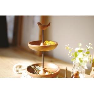Kishima|木製小鳥雙層置物盤