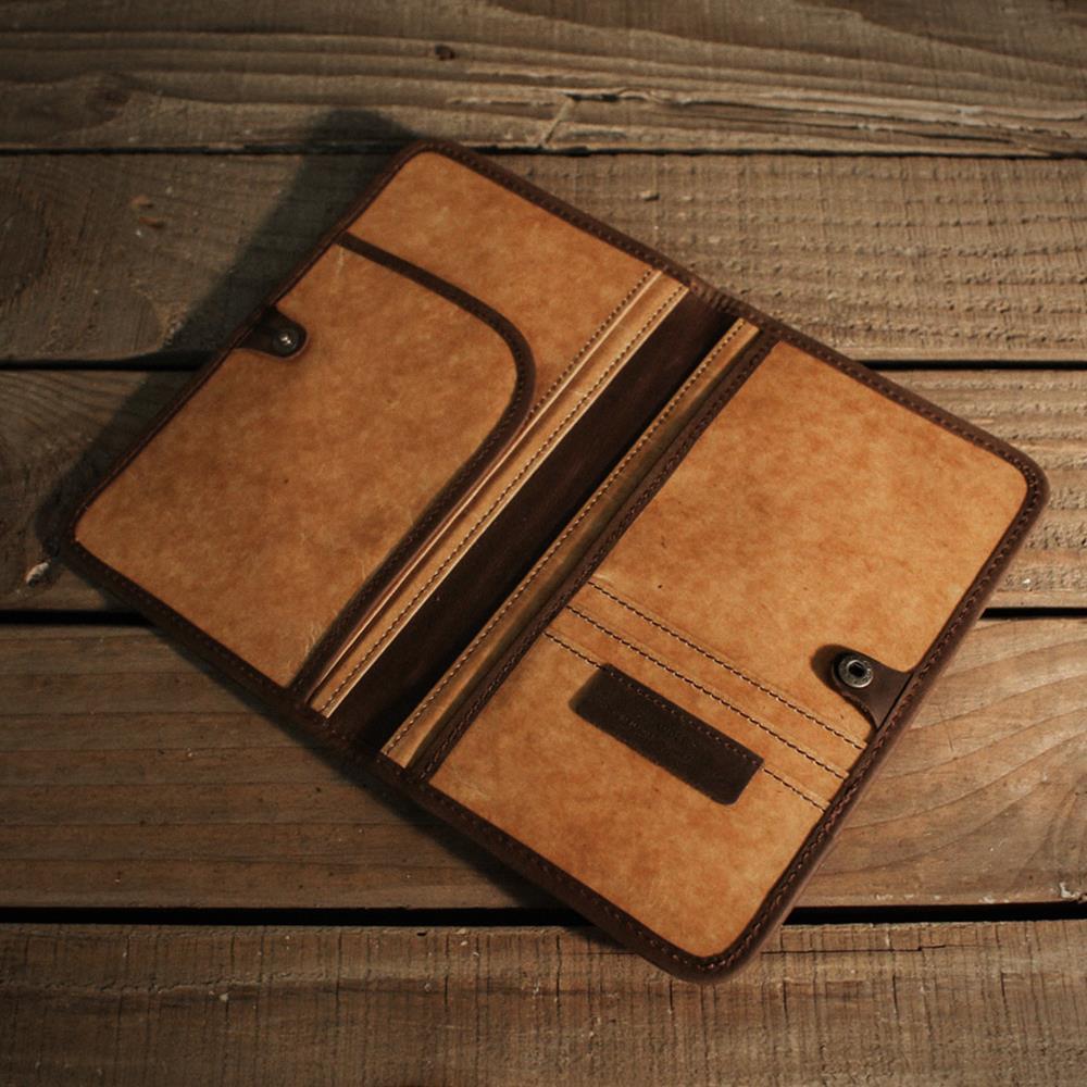 ADOLE|蠟紋布-復古夾層護照套
