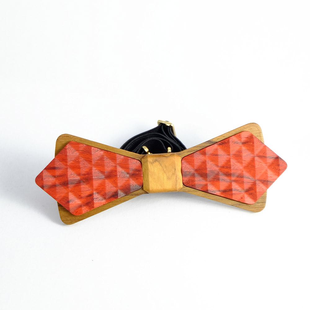 Millimeter|木領結 3D WOOD TIE(菱形紅色)