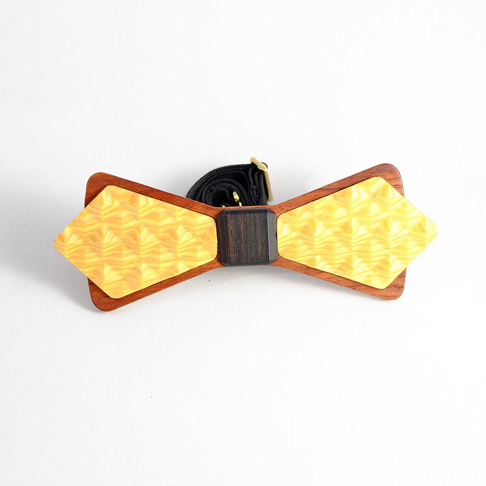 Millimeter 木領結 3D WOOD TIE(菱形黃色)