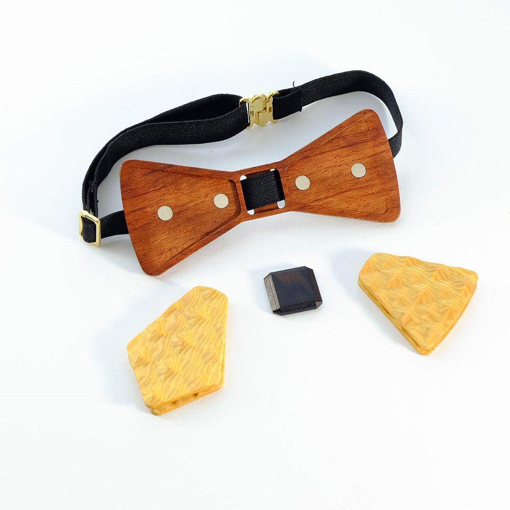Millimeter|木領結 3D WOOD TIE(黃色套裝組)