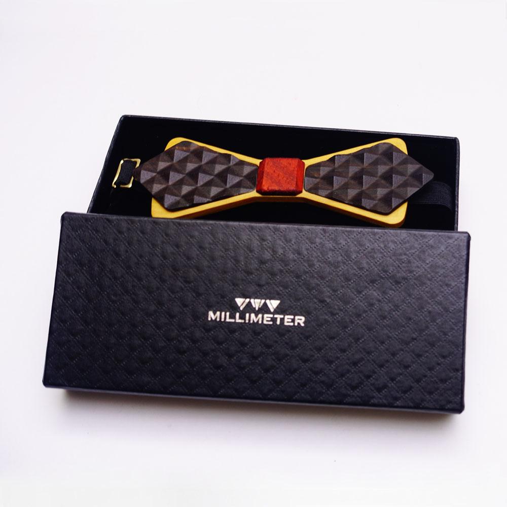 Millimeter 木領結 3D WOOD TIE(菱形黑色)