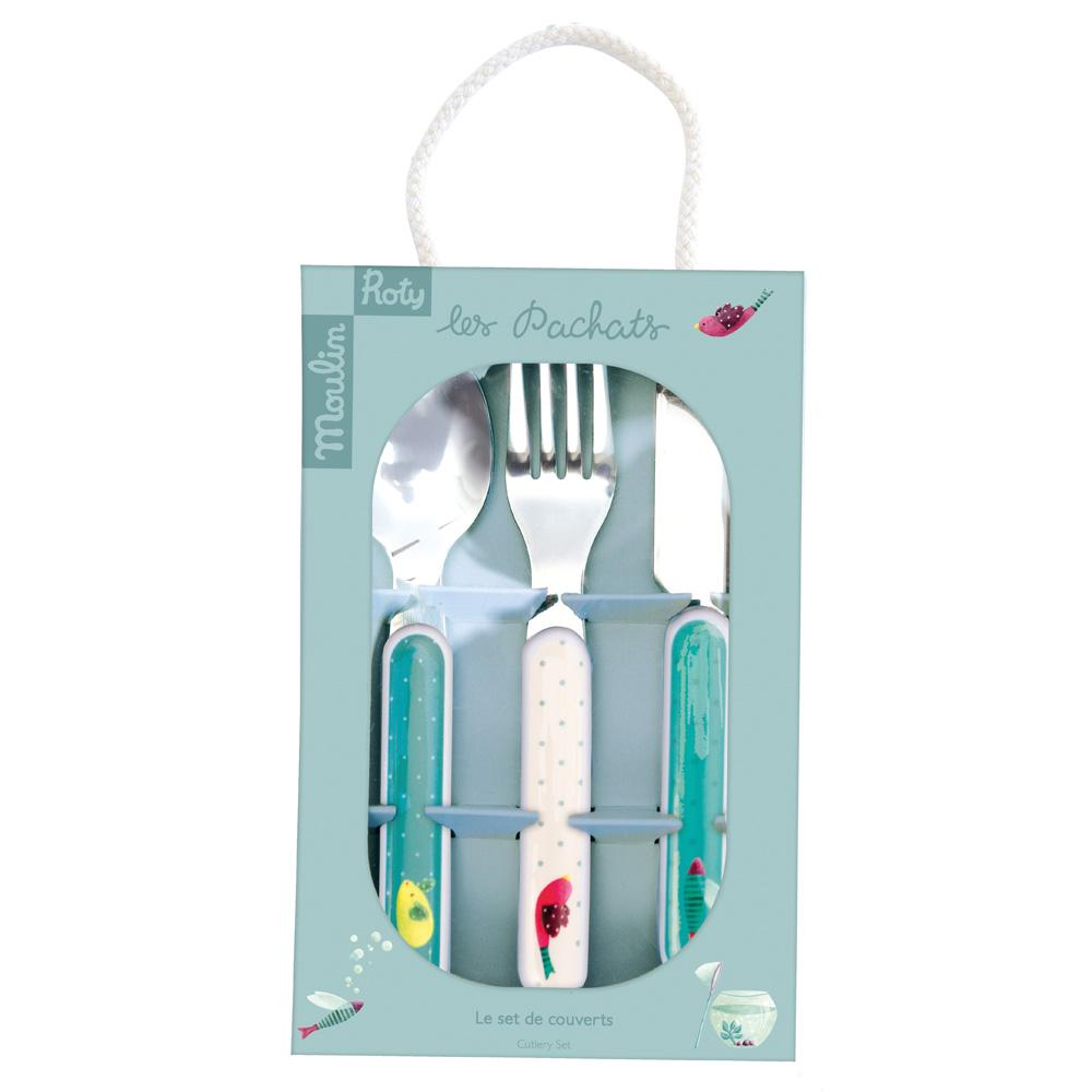 法國 Moulin Roty|帕奇安全快樂餐具禮盒組 (刀、叉、湯匙三件組)