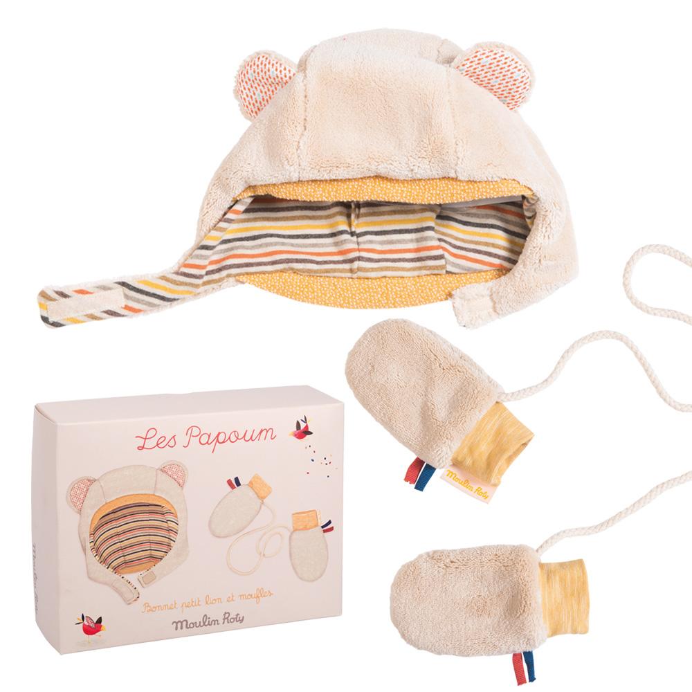 法國 Moulin Roty|Papoum 寶寶帽子手套禮盒組 (6~12個月)