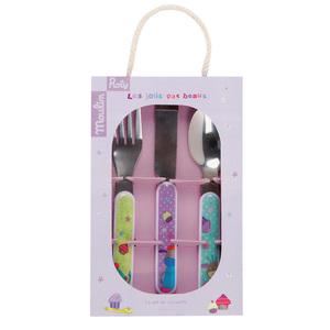 法國 Moulin Roty|喬麗絲寶寶安全快樂餐具禮盒組 (刀、叉、湯匙三件組)