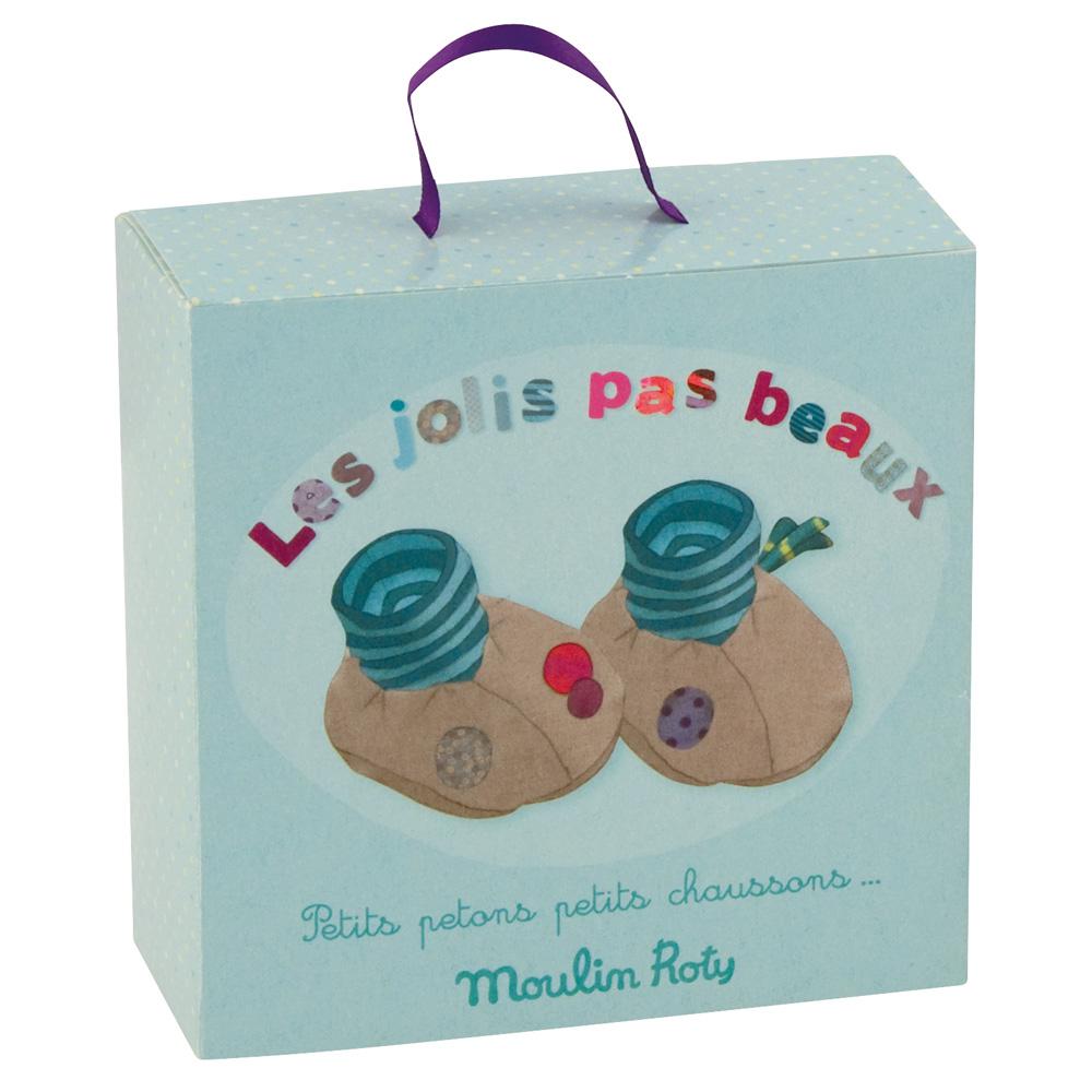 法國 Moulin Roty|喬麗絲粉灰綠男寶寶專用保暖鞋套禮盒 0-6個月
