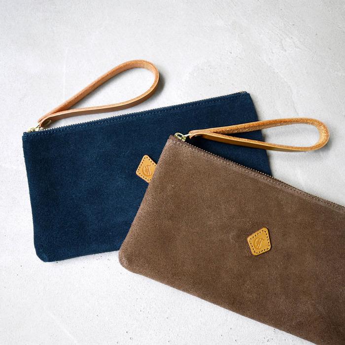 CLEDRAN|溫暖氛圍 日本柔質麂皮簡約異材質手拿包/化妝包