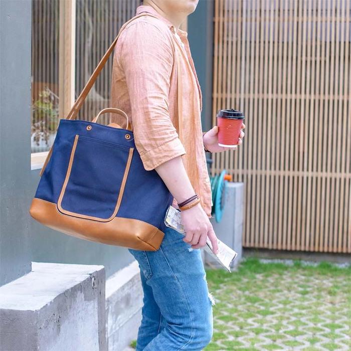 TEHA' AMANA 大容量首選 日本職人手作斜背/手提兩用帆布真皮包