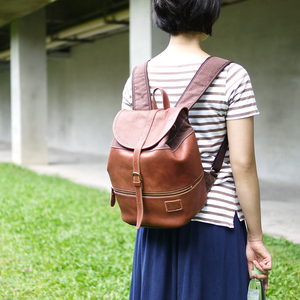 FOLNA|日系人氣款  休閒風牛皮後背包