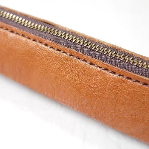 HANDIIN 手工縫線  植鞣牛皮拉鍊筆袋