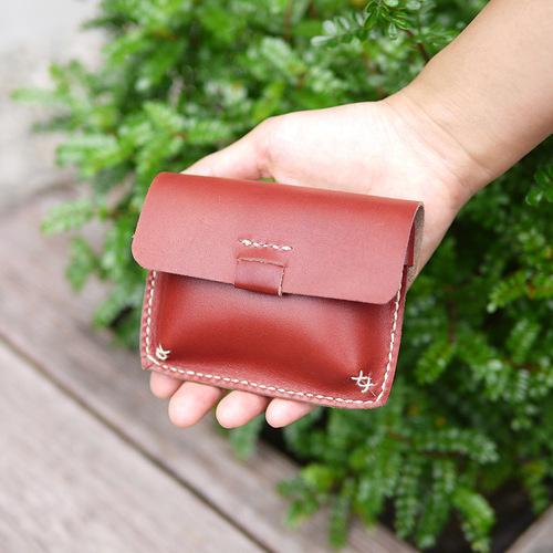 HANDIIN|手縫植鞣牛皮方形/磁釦式零錢包
