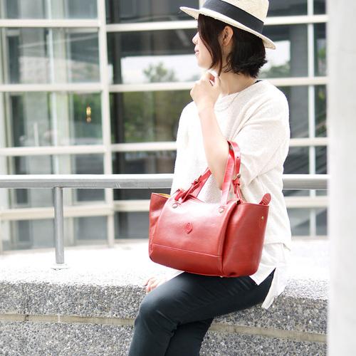 CLEDRAN 都會時尚 簡約牛皮托特/側背兩用包