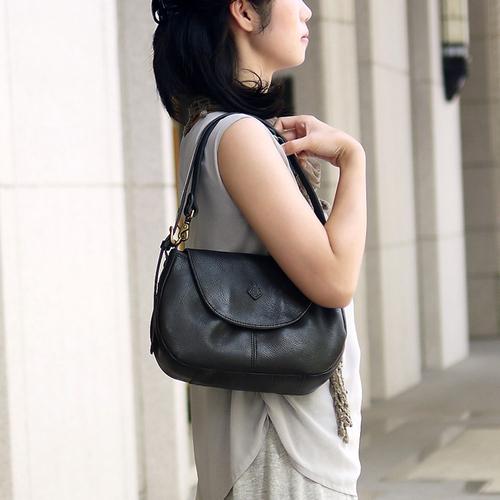 CLEDRAN 日本時尚磁扣空姐包肩背包斜肩包兩用包