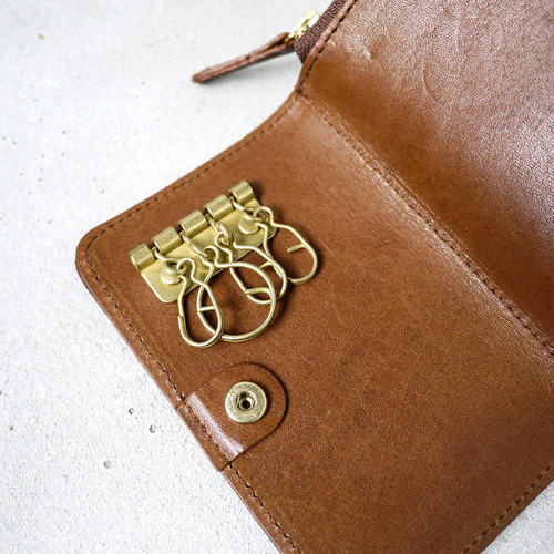 CLEDRAN 日本栃木苯染植鞣軟牛皮隨身鑰匙零錢包