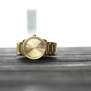 LEFF amsterdam tube  北歐工業齒輪設計真皮腕錶 (42mm,閃耀黃銅、黃銅鋼帶)