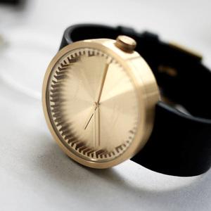 LEFF amsterdam tube  北歐工業齒輪設計真皮腕錶 (42mm,黃銅、黑皮帶)