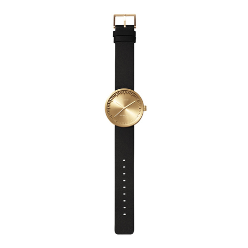 LEFF amsterdam|tube  北歐工業齒輪設計真皮腕錶 (42mm,黃銅、黑皮帶)