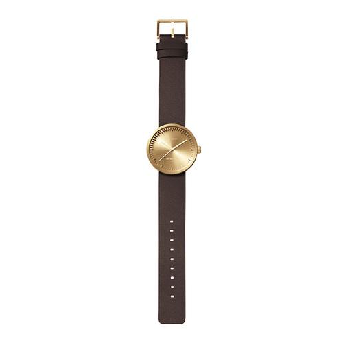 LEFF amsterdam|tube  北歐工業齒輪設計真皮腕錶 (38mm,黃銅、棕皮帶)