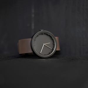 LEFF amsterdam tube  北歐工業齒輪設計真皮腕錶 (38mm,霧黑、棕皮帶)