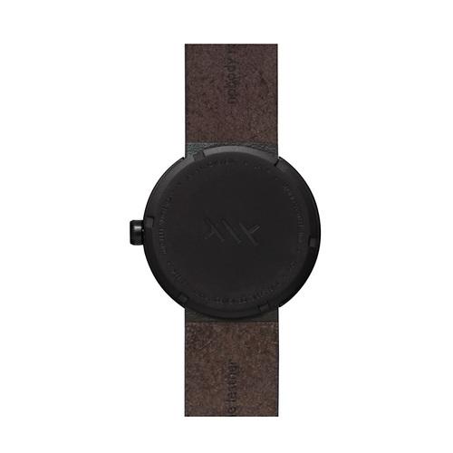 LEFF amsterdam|tube  北歐工業齒輪設計真皮腕錶 (38mm,霧黑、棕皮帶)