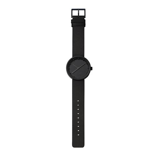 LEFF amsterdam|tube 北歐工業齒輪設計真皮腕錶 (42mm,霧黑、黑皮帶)