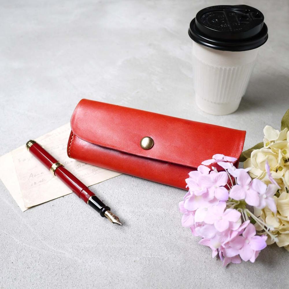HANDIIN 專屬風格 多功能手縫皮革筆盒/眼鏡盒紅色