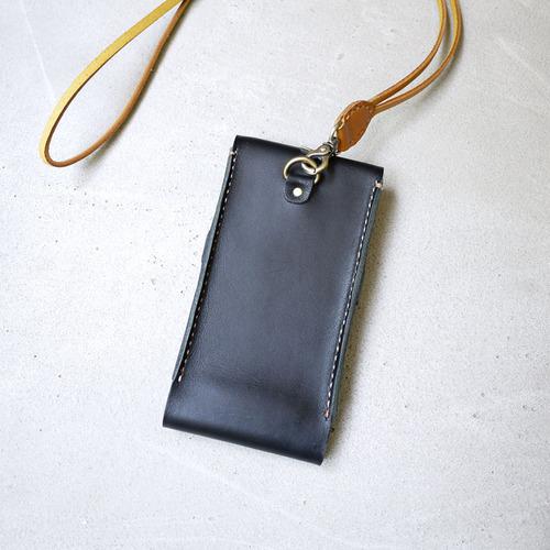 HANDIIN|設計手作 個性兩用手縫牛皮手機套(附牛皮掛繩/頸帶) 黑色