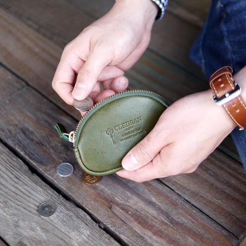 CLEDRAN|日本職人手作 圓弧曲線拉鍊植鞣牛皮零錢包/鑰匙包