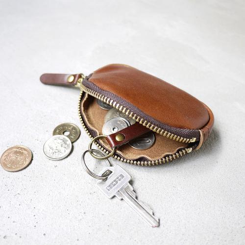CLEDRAN 日本職人手作 圓弧曲線拉鍊植鞣牛皮零錢包/鑰匙包