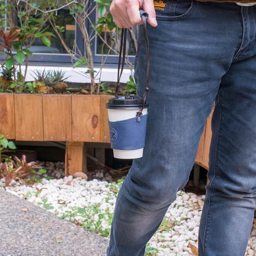 HANDIIN|曲線設計 日系手縫植鞣革牛皮杯套/咖啡提袋 深藍色