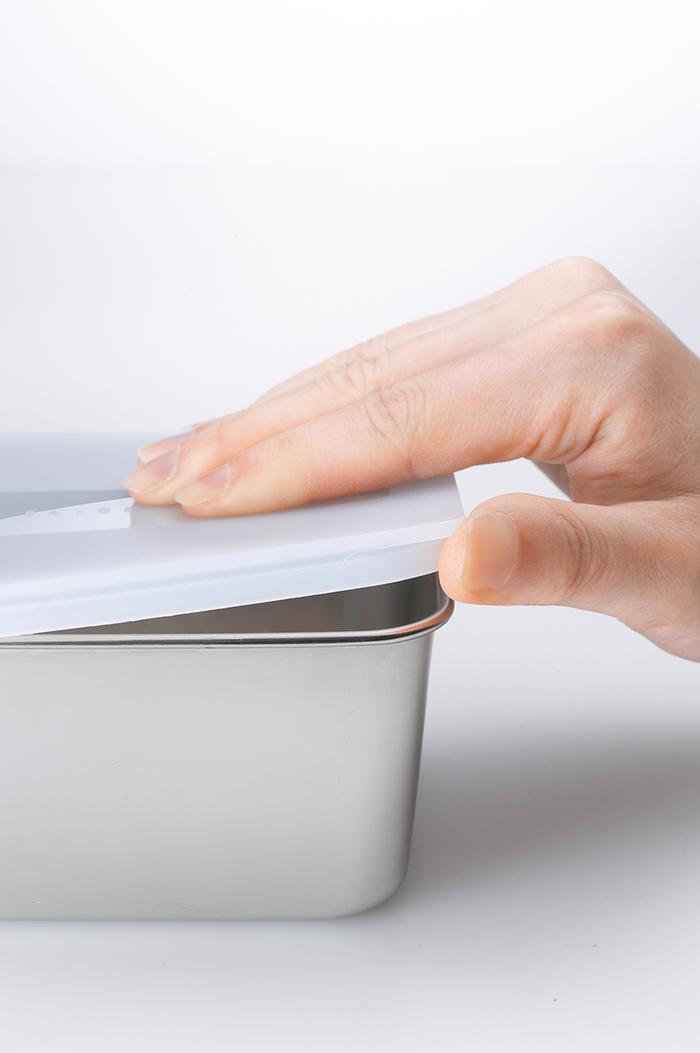 遠馸思創|日本製霧面蓋不鏽鋼方形保鮮盒 (迷你白)