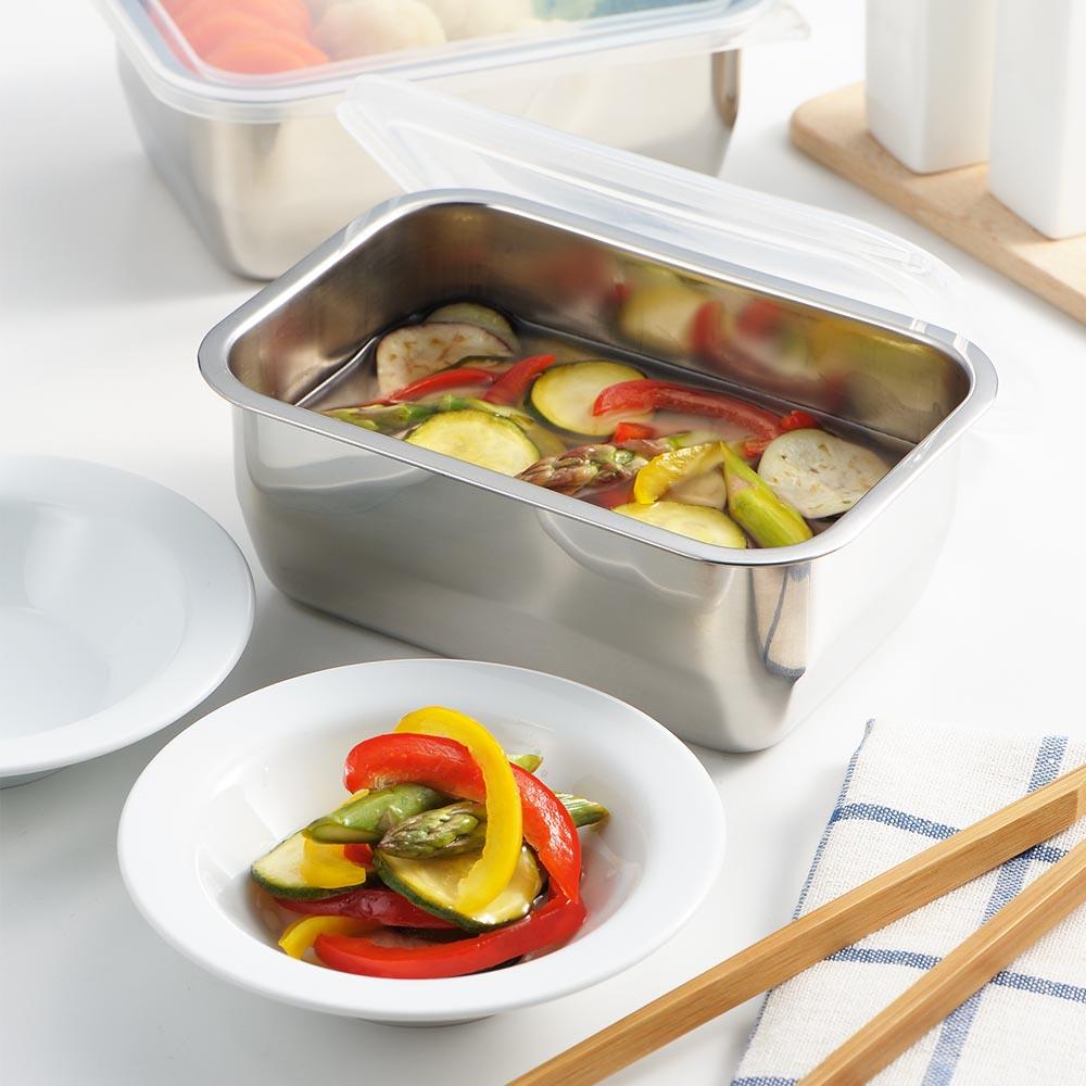 遠馸思創 日本製透明蓋不鏽鋼方形保鮮盒 (小)