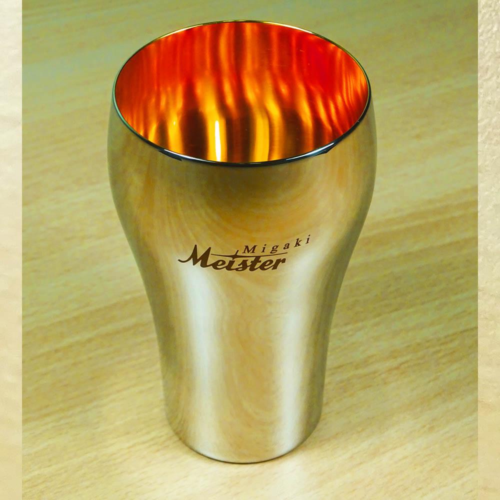 遠馸思創 日本製 24K 鑲金不鏽鋼啤酒杯 (380 ml)