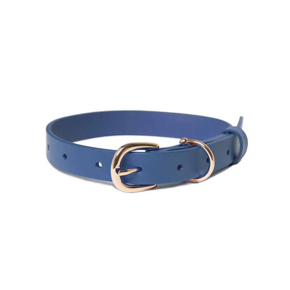 NINIKONI Cittadino 義大利經典植韖牛皮項圈(藍色)