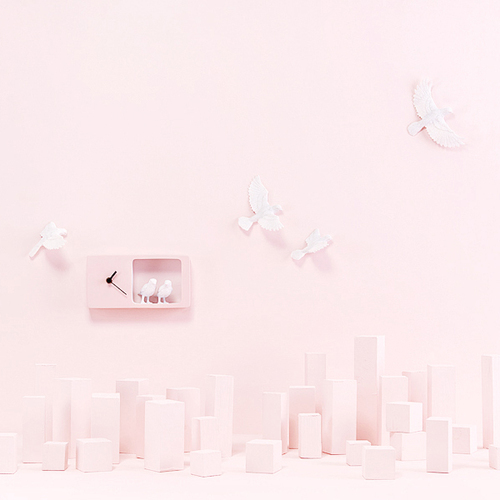 haoshi 良事設計 麻雀時鐘(粉紅色版)